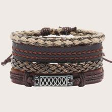 4pcs Men PU Braided Bracelet