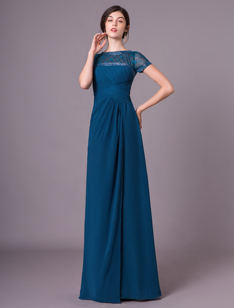 Milanoo Dark Navy A-line Chiffon Short Sleeves Mother of the Bride Dress with Jewel Neck Beading