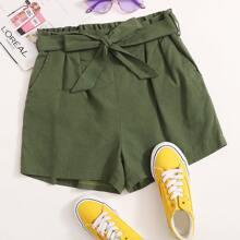 Solid Paperbag Waist Belted Slant Pocket Shorts