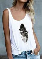 Feather Printed O-Neck Tank - White