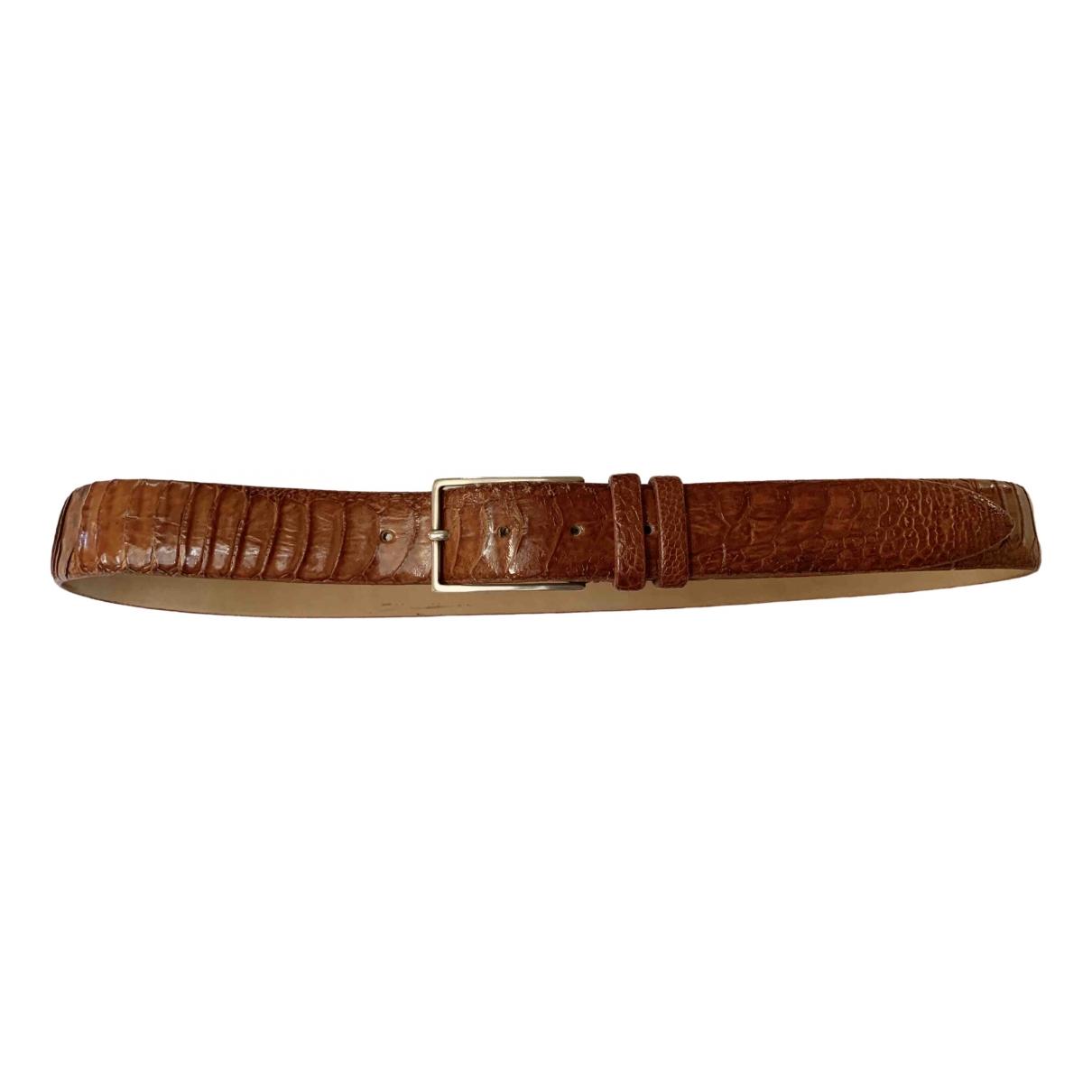 Non Signé / Unsigned \N Camel Ostrich belt for Men 90 cm