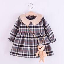 Toddler Girls Plaid Contrast Collar Babydoll Dress With Teddy Bear