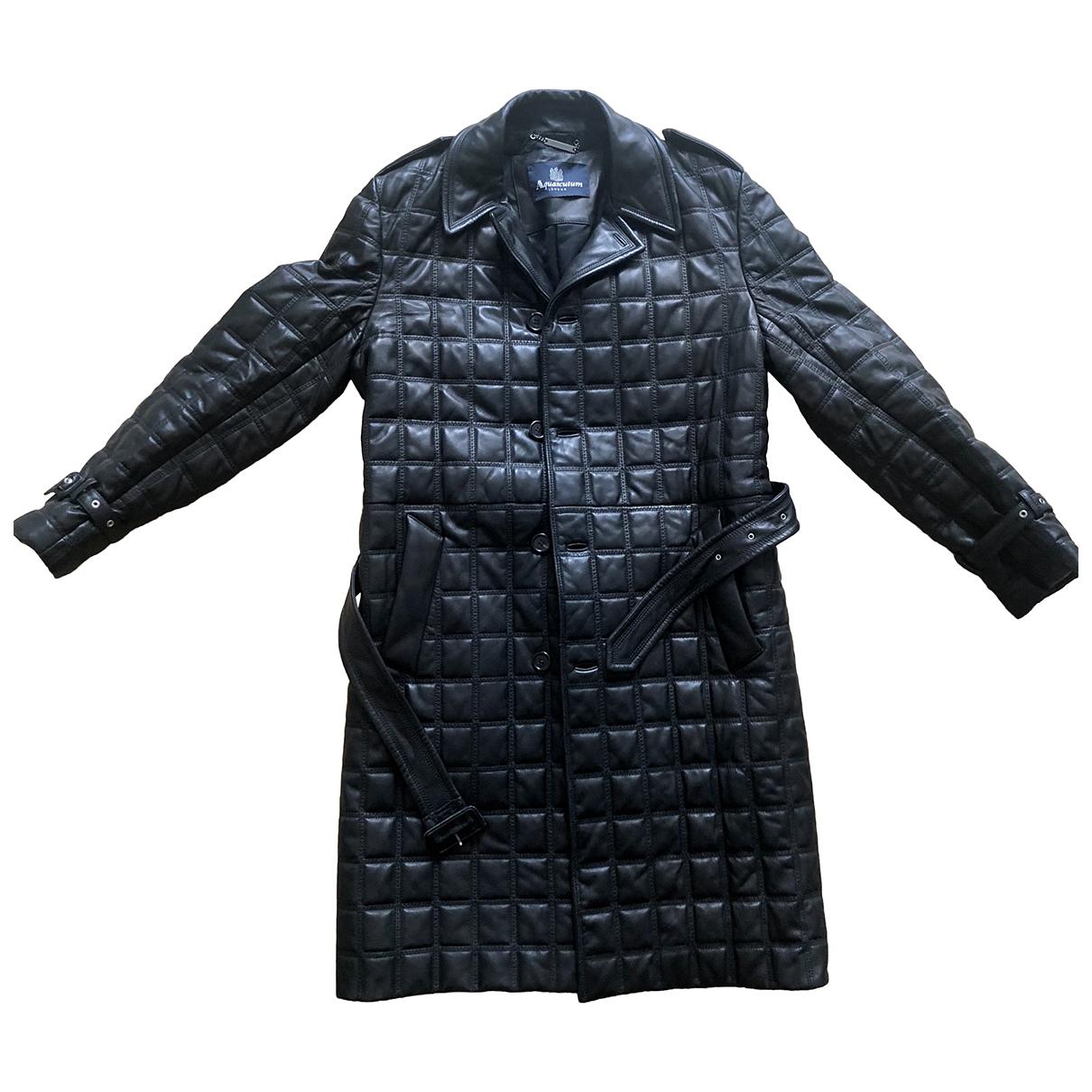 Aquascutum - Manteau   pour homme en cuir - noir