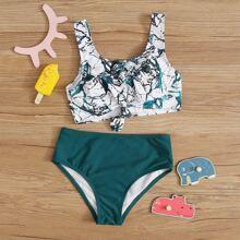 Maedchen Bikini Badekleidung mit ueberaller Grafik und Knoten vorn