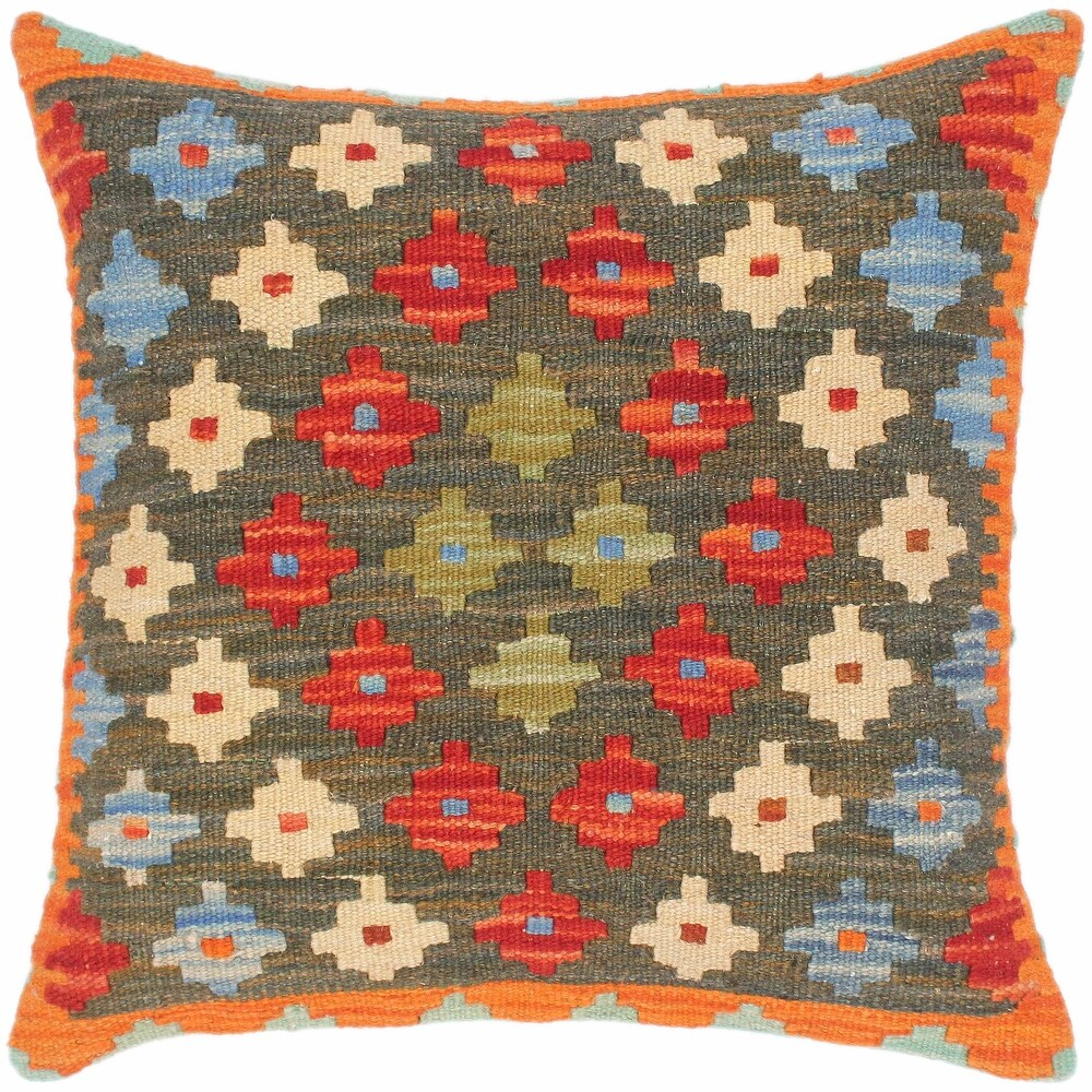 Shabby Chic Anh Hand-Woven Turkish Kilim Throw Pillow 18 in. x 18 in. (Accent - 18 in. x 18 in. - Polyester - Green - Single)