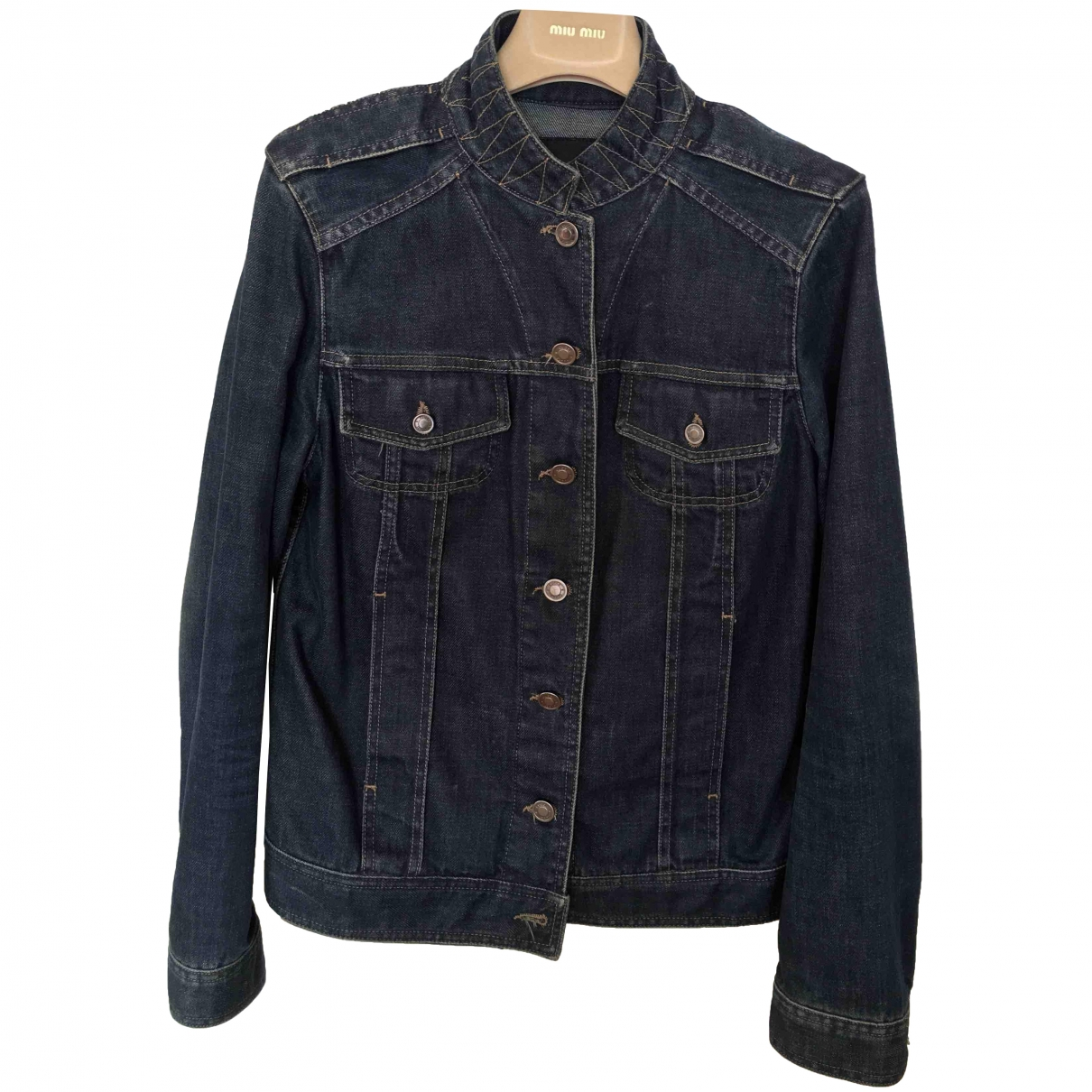 Gucci \N Blue Denim - Jeans Leather jacket for Women 40 IT