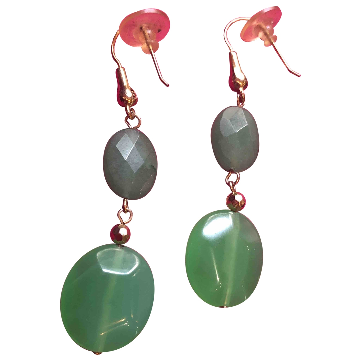 Non Signé / Unsigned Motifs Ethniques Green Metal Earrings for Women \N