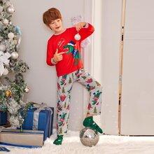 Boys Christmas and Dinosaur Print Tee and Pants PJ Set