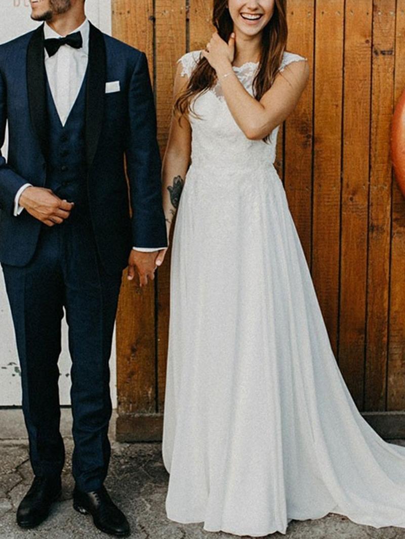 Ericdress Cap Sleeves Appliques Backless Beach Wedding Dress