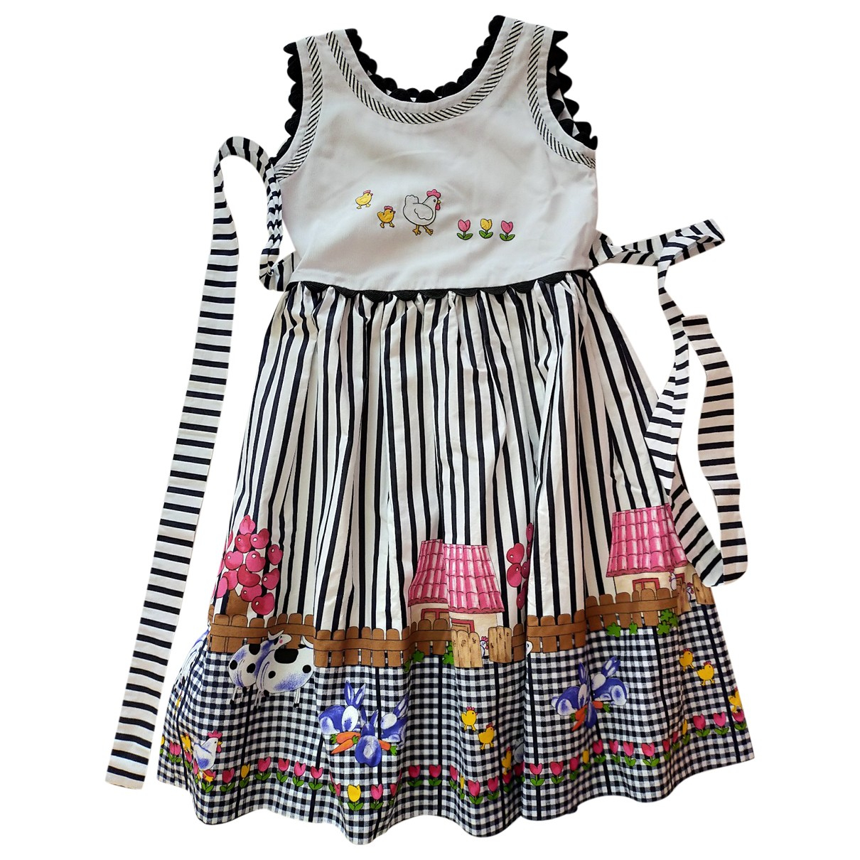 Non Signé / Unsigned N Multicolour Cotton dress for Kids 8 years - up to 128cm FR