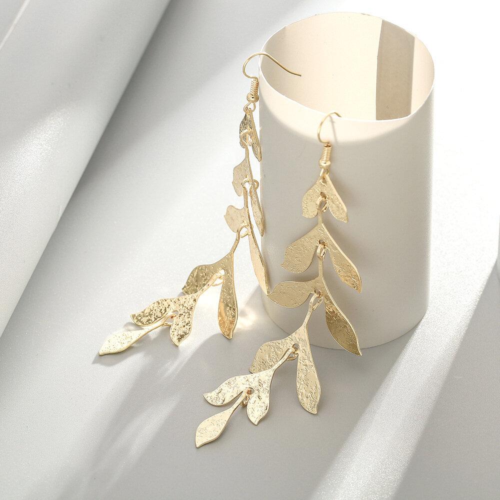 Vintage Leaves Tassel Pendant Earrings Temperament Gold Leaf Long Earrings Chic Jewelry