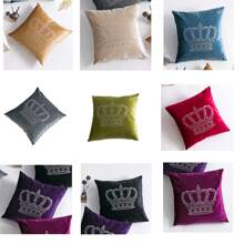 1pc Crown Pattern Cushion Cover Without Filler