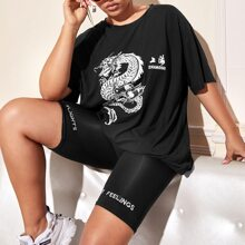 Plus Dragon & Letter Graphic Oversized Tee