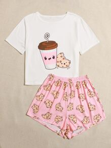Cartoon Graphic Tee & Shorts PJ Set
