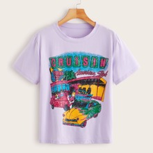 Cartoon And Letter Graphic Tee