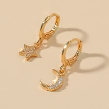 Rhinestone Star & Moon Drop Earrings