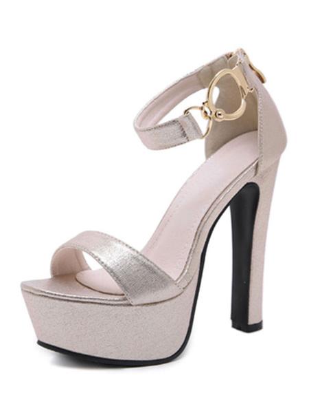 Milanoo Platform High Heel Sandals Womens Metal Buckle Open Toe Ankle Strap Chunky Heel Sandals