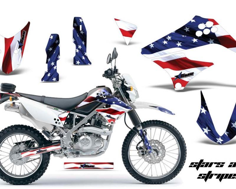 AMR Racing Dirt Bike Graphics Kit Decal Sticker Wrap For Kawasaki KLX125 2010-2016áUSA FLAG