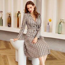 Double Button Belted Tartan Blazer & Pleated Skirt Set