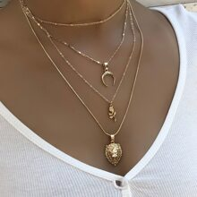 Moon Decor Layered Necklace