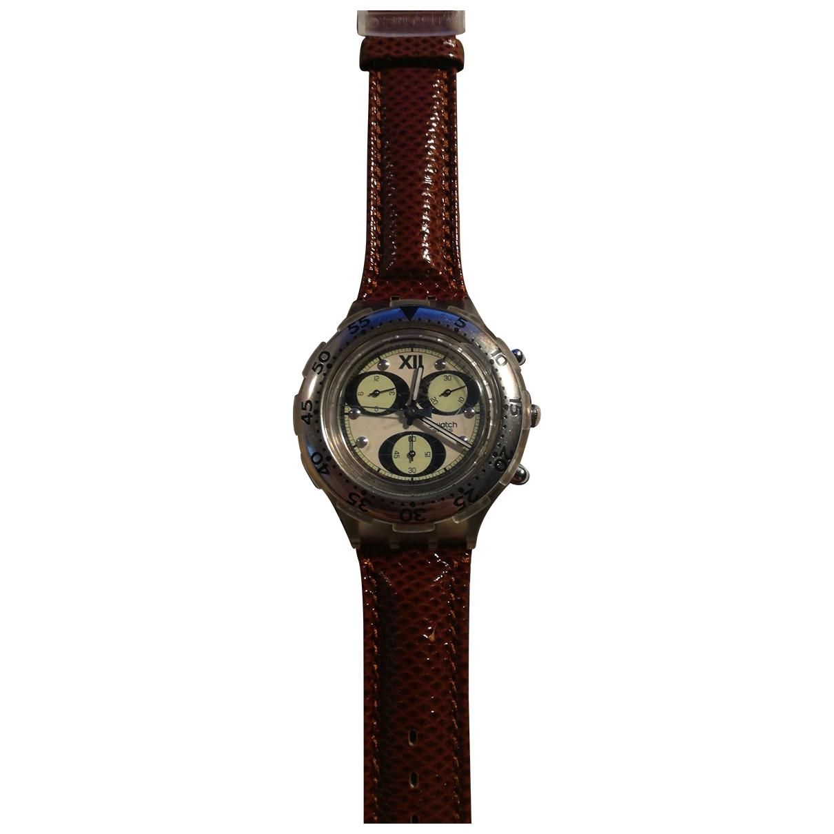 Swatch - Montre   pour homme en acier - marron