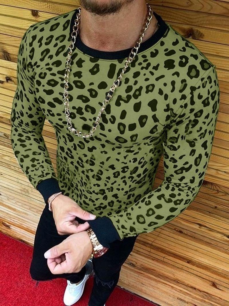 Ericdress Fashion Leopard Round Neck Long Sleeve Style Slim Men's T-shirt