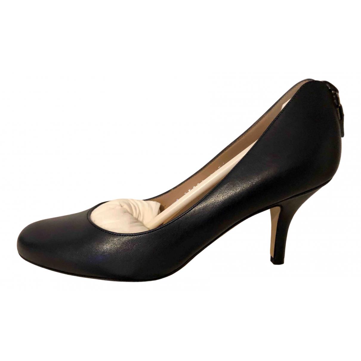 Salvatore Ferragamo N Navy Leather Heels for Women 36 EU