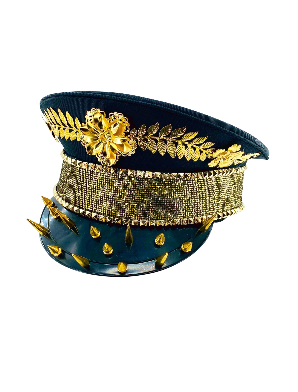 Kostuemzubehor Kappe Pailletten schwarz/gold mit Nieten