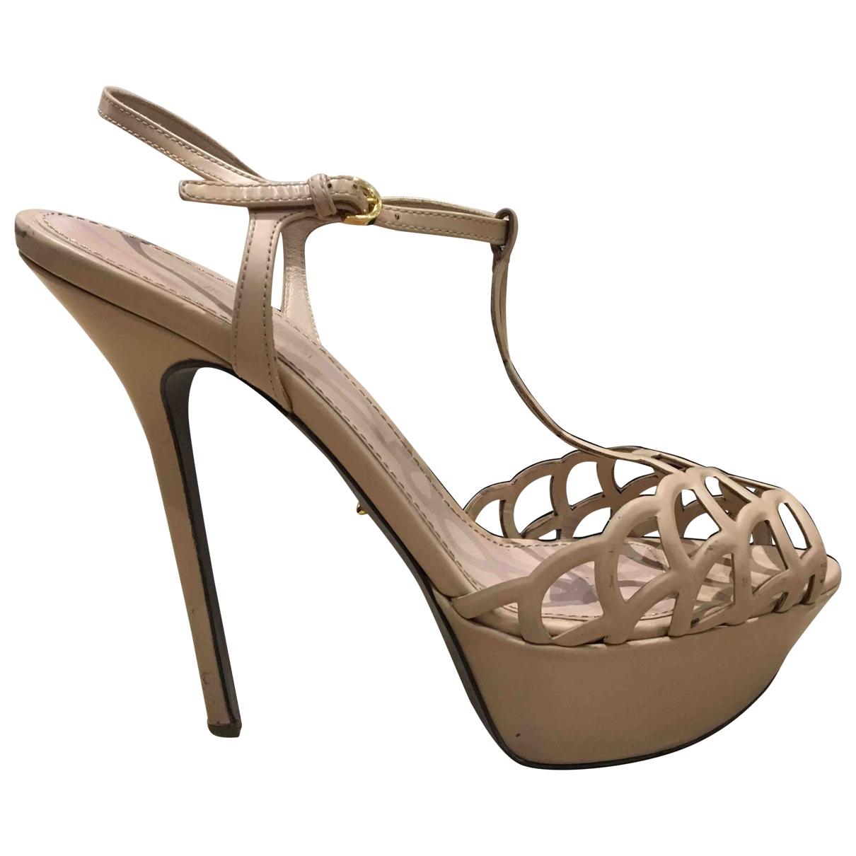 Sergio Rossi - Sandales   pour femme en cuir - beige