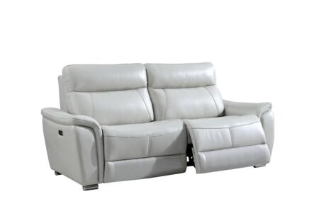 17053 Sofa with Electric Reclining  Pillow Top Arms and Eco-Leather Upholstery in Light