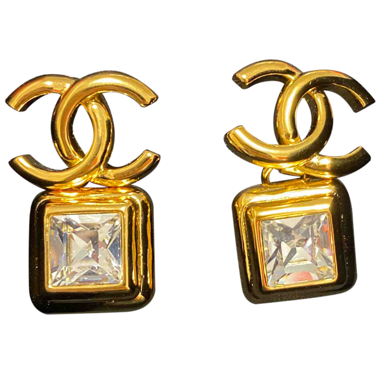 Chanel CC OhrRing in  Gold Gold und Stahl