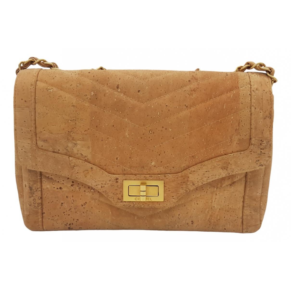 Chanel - Sac a main 2.55 pour femme en cuir exotique - beige