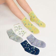 5 Paare Socken mit Kaktus Muster