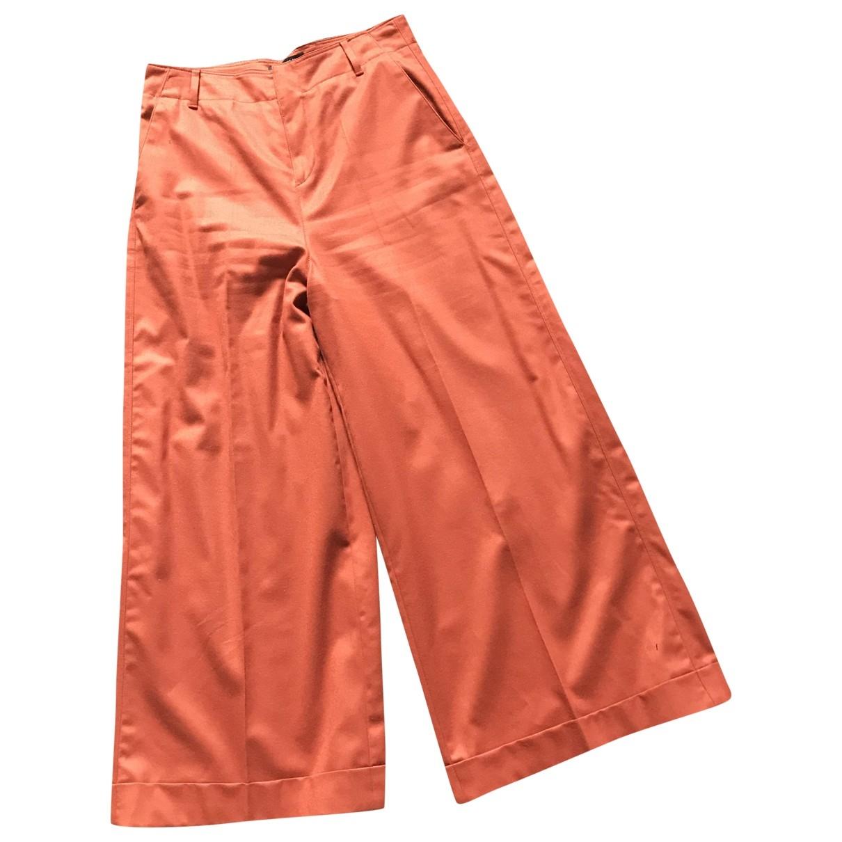 Pt01 \N Orange Wool Trousers for Women 42 IT