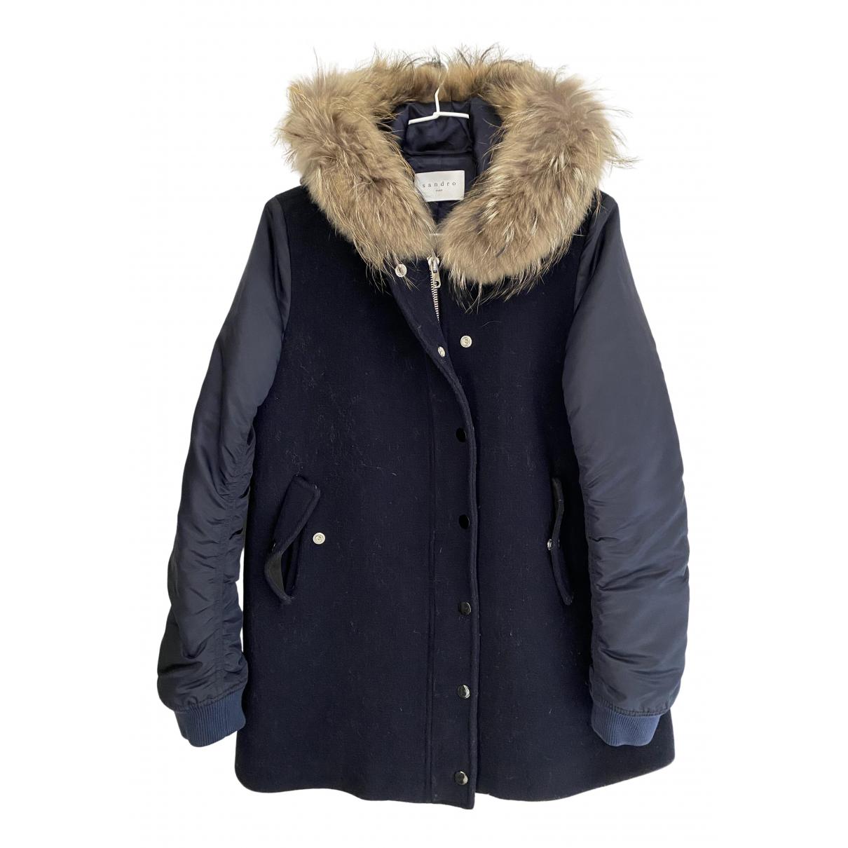Sandro - Manteau   pour femme en laine - marine