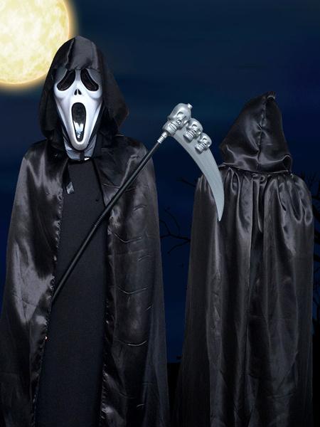 Milanoo Disfraz Halloween Halloween Grim Reaper Costume Vampire Black Unisex Two Tone Cape Coat Carnaval Halloween