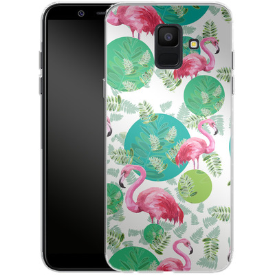 Samsung Galaxy A6 Silikon Handyhuelle - Flamingo Land von Mukta Lata Barua