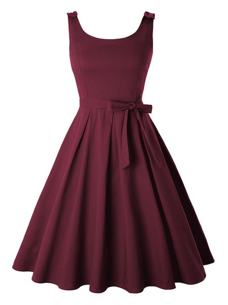 Milanoo Vestido vintage Vestido sin mangas con cuello en U sin mangas de los años 50