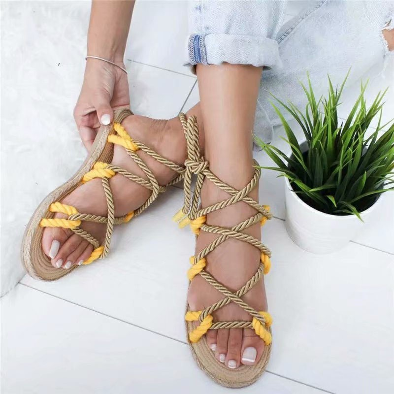 Ericdress Open Toe Flat With Lace-Up Casual Sandals