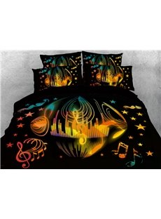 Yellow Notes and Stars Music Themed 3D Duvet Cover Sets 4-Piece Soft Breathable Bedding Sets