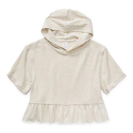 Arizona Little & Big Girls Raglan Sleeve Hoodie, Large (14) , Beige