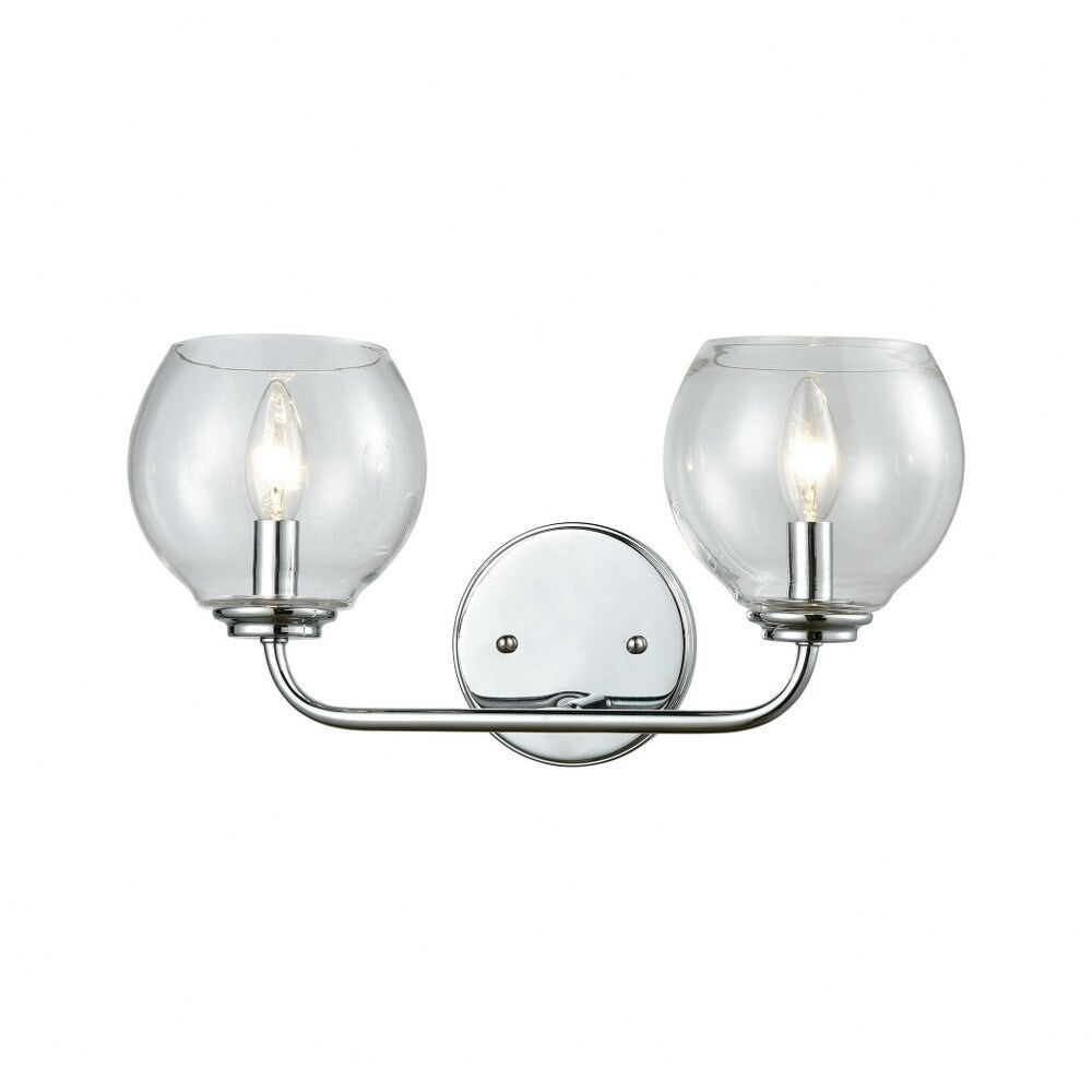 2 Up Light Vanity Light With Polished Chrome Finish With Clear Glass Made Of Glass/Metal - Bathroom (Polished Chrome)