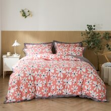 Bettwaesche Set mit Blumen Muster ohne Fuellstoff
