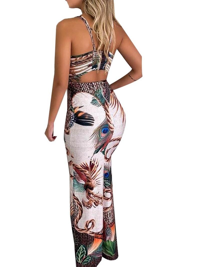 Ericdress Backless V-Neck Floor-Length Split Bodycon Animal Dress