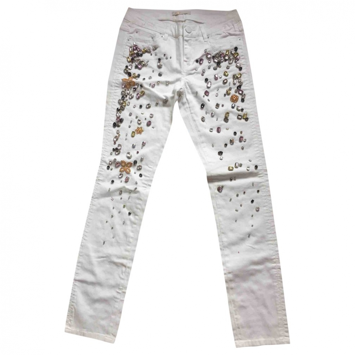Maje \N White Cotton Trousers for Women 36 FR