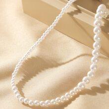1 pieza gargantilla con cuenta de perla artificial