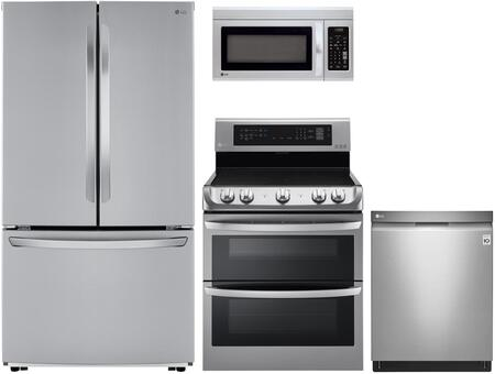 4 Piece Kitchen Appliances Package with LFCC22426S 36 French Door Refrigerator  LDE4413ST 30 Electric Range  LMV1831ST 30 Over the Range Microwave