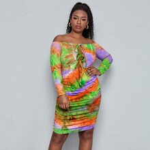 Plus Knot Front Ruched Hem Tie Dye Bardot Dress