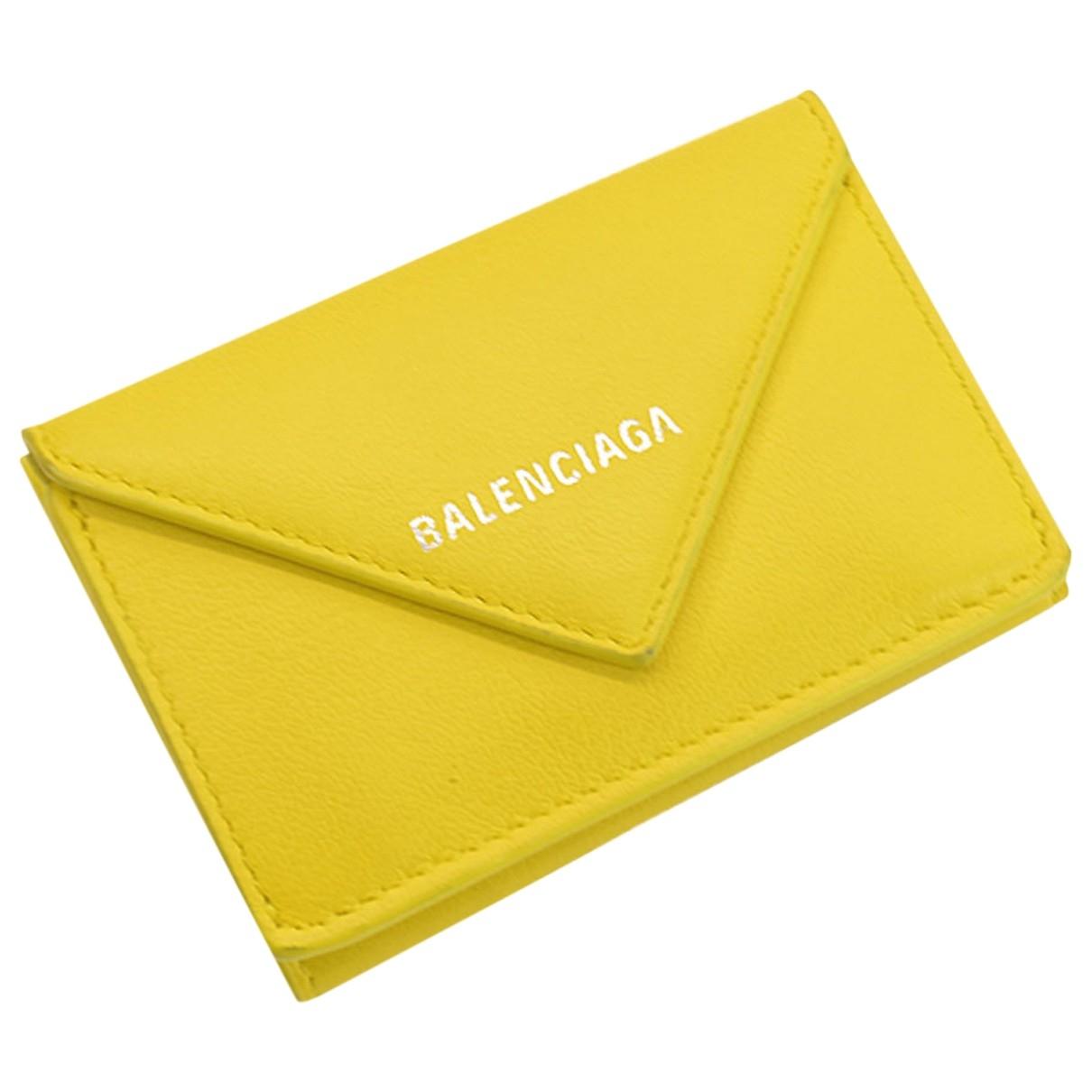 Balenciaga - Portefeuille   pour femme en cuir - jaune