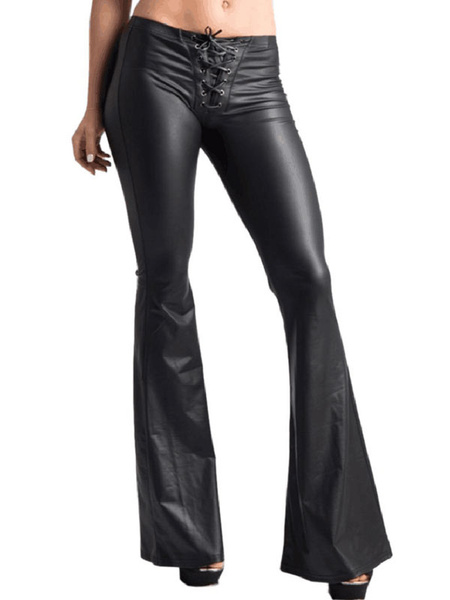 Milanoo Black Bell Bottom Pants PU Leather Lace Up Flared Leg Trousers